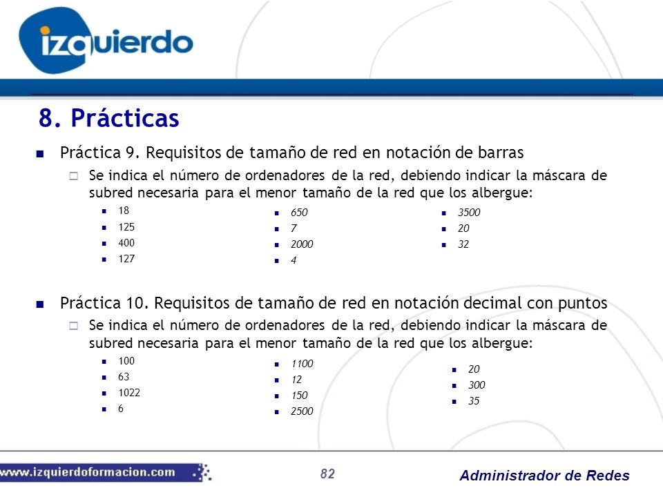 8. Prácticas Práctica 9. Requisitos de tamaño de red en notación de barras.