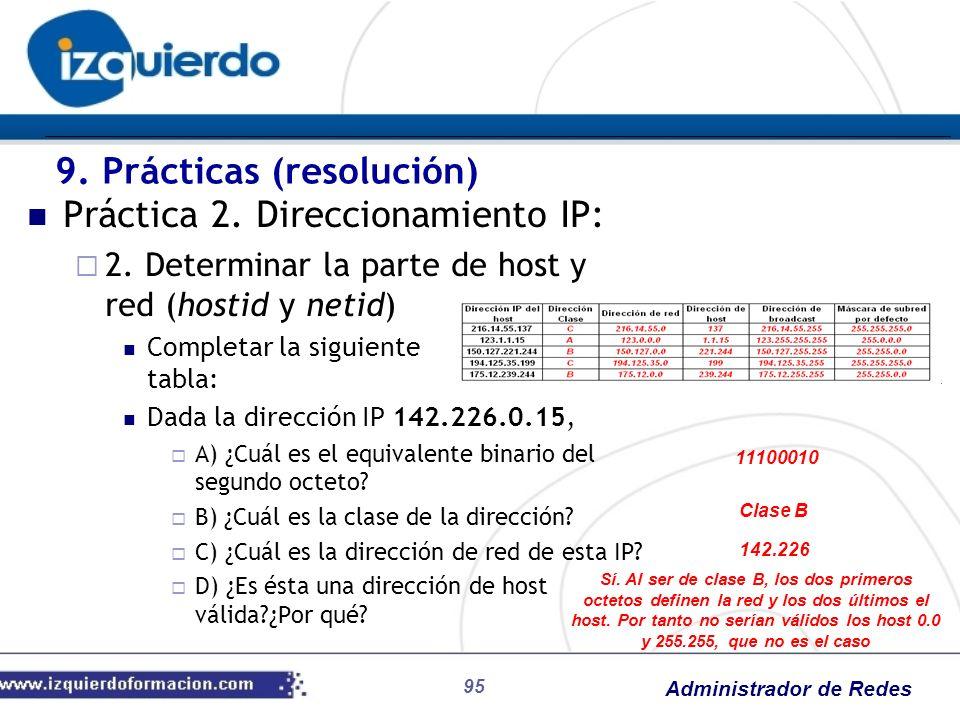 9. Prácticas (resolución) Práctica 2. Direccionamiento IP: