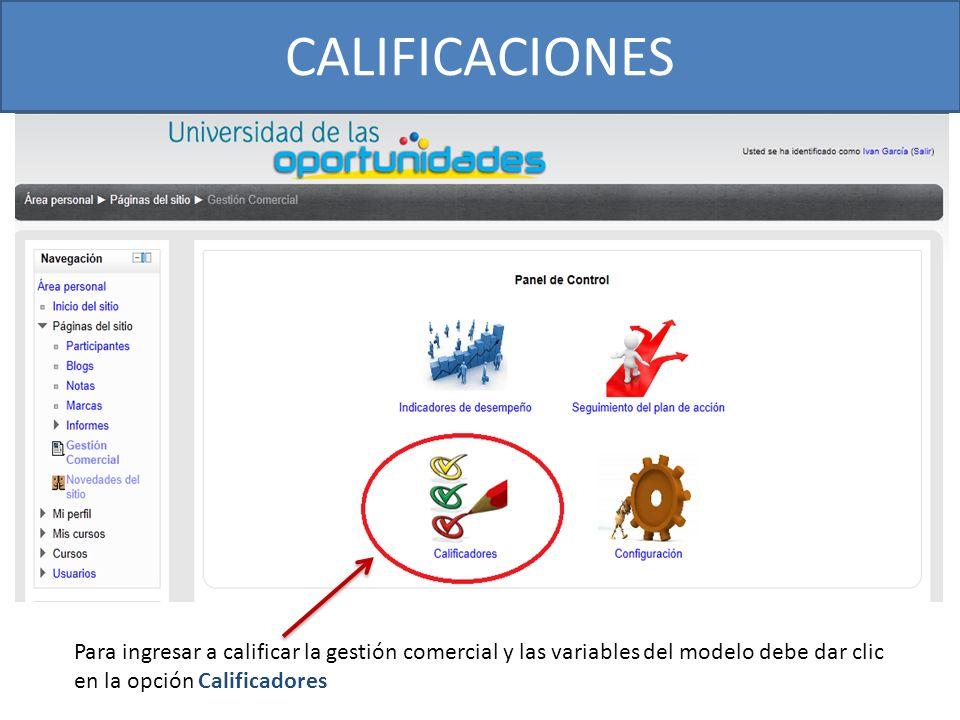 CALIFICACIONES Para ingresar a calificar la gestión comercial y las variables del modelo debe dar clic.