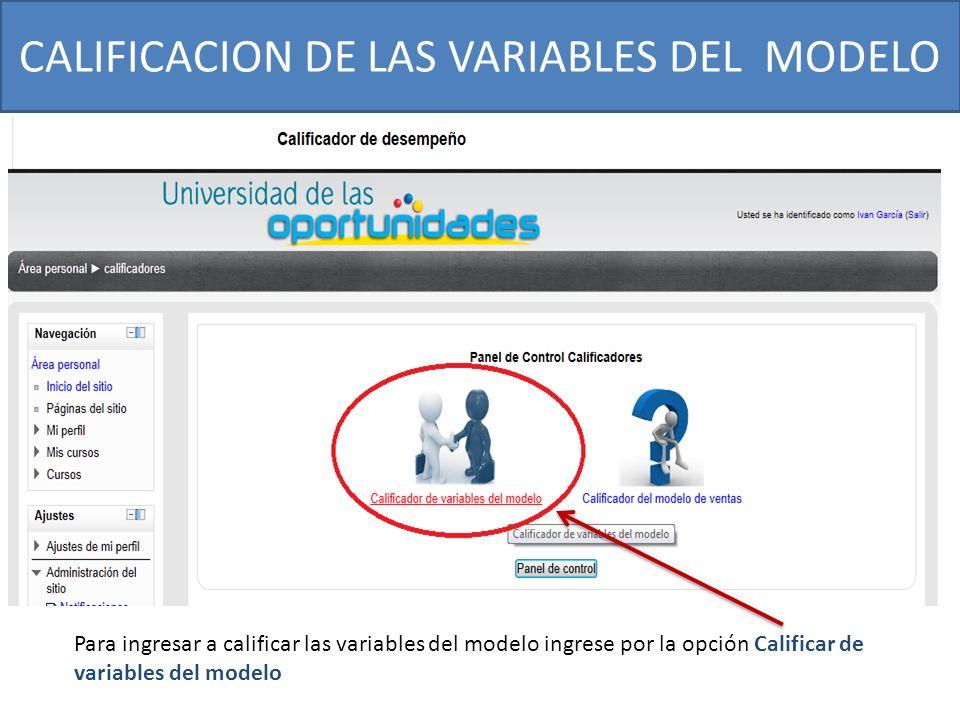 CALIFICACION DE LAS VARIABLES DEL MODELO