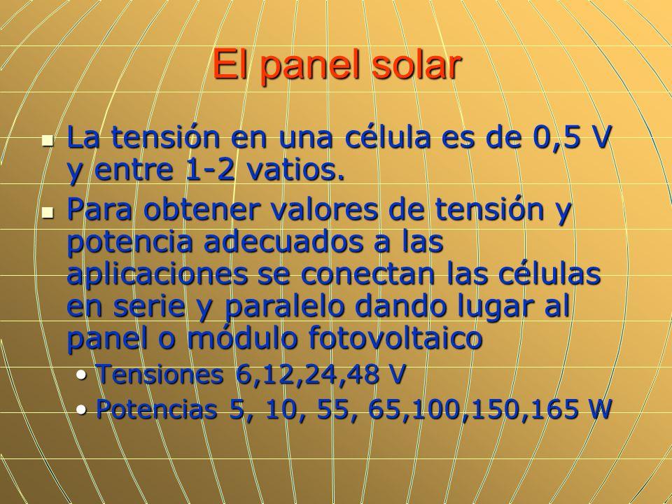 El panel solarLa tensión en una célula es de 0,5 V y entre 1-2 vatios.