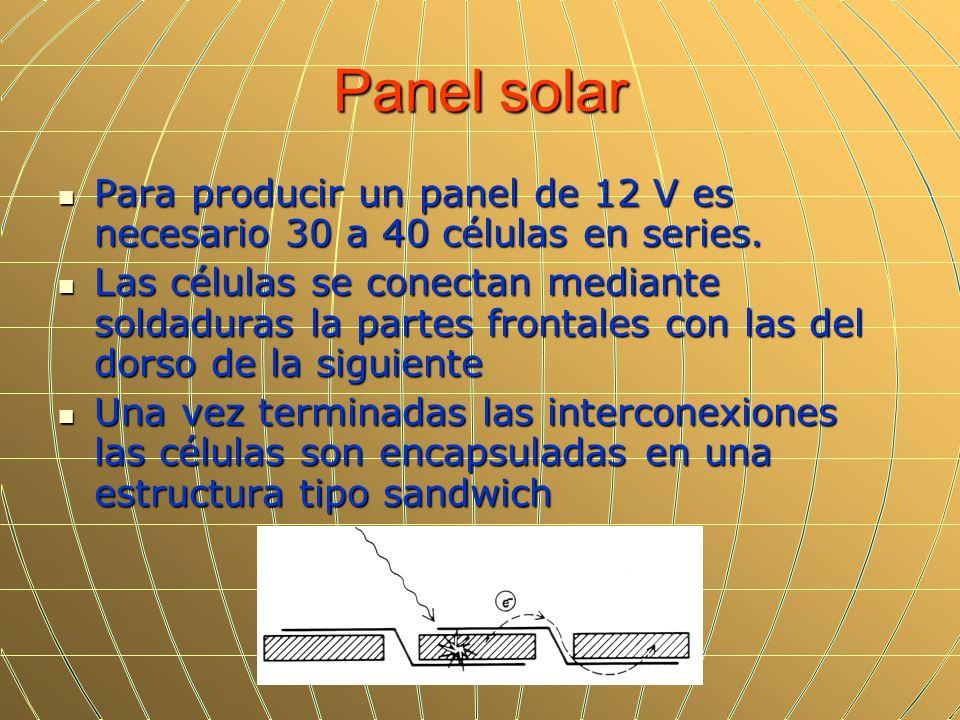 Panel solarPara producir un panel de 12 V es necesario 30 a 40 células en series.