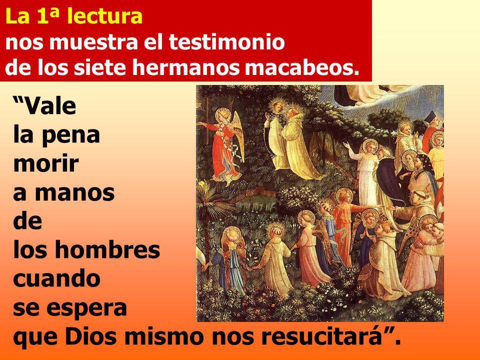 La 1ª lectura nos muestra el testimonio de los siete hermanos macabeos.