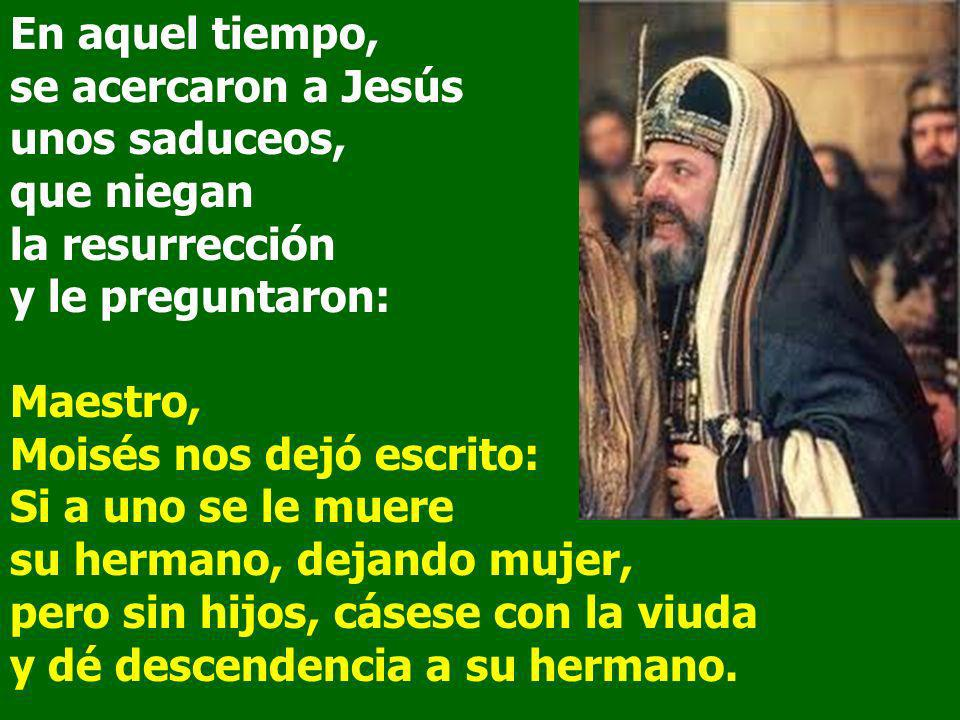 En aquel tiempo, se acercaron a Jesús unos saduceos, que niegan la resurrección y le preguntaron: