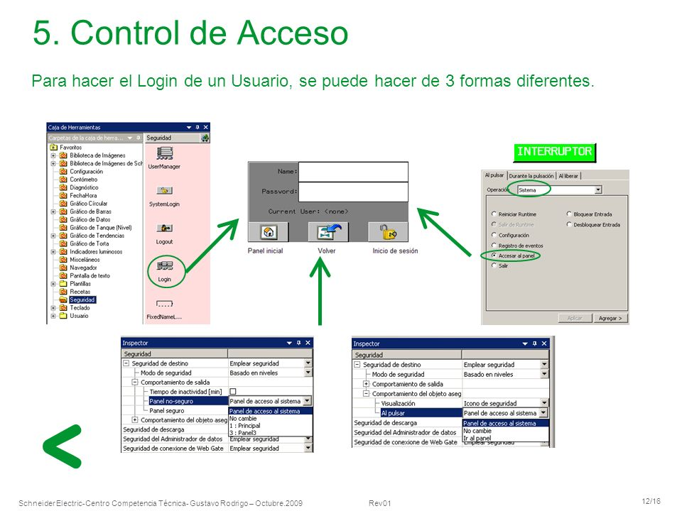5. Control de Acceso Para hacer el Login de un Usuario, se puede hacer de 3 formas diferentes.