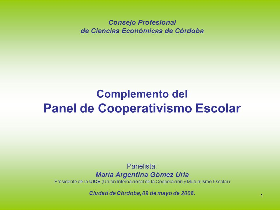 Panel de Cooperativismo Escolar