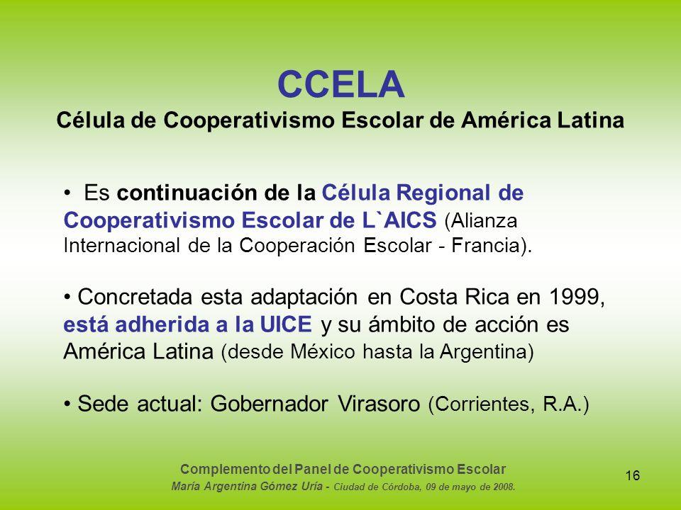 CCELA Célula de Cooperativismo Escolar de América Latina