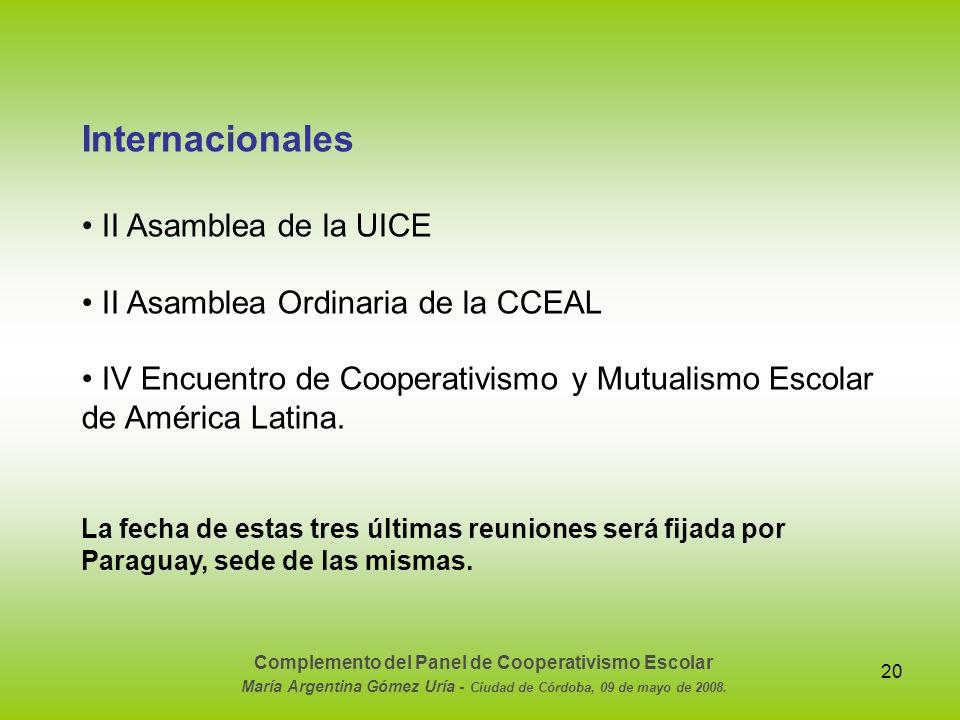 Internacionales • II Asamblea de la UICE
