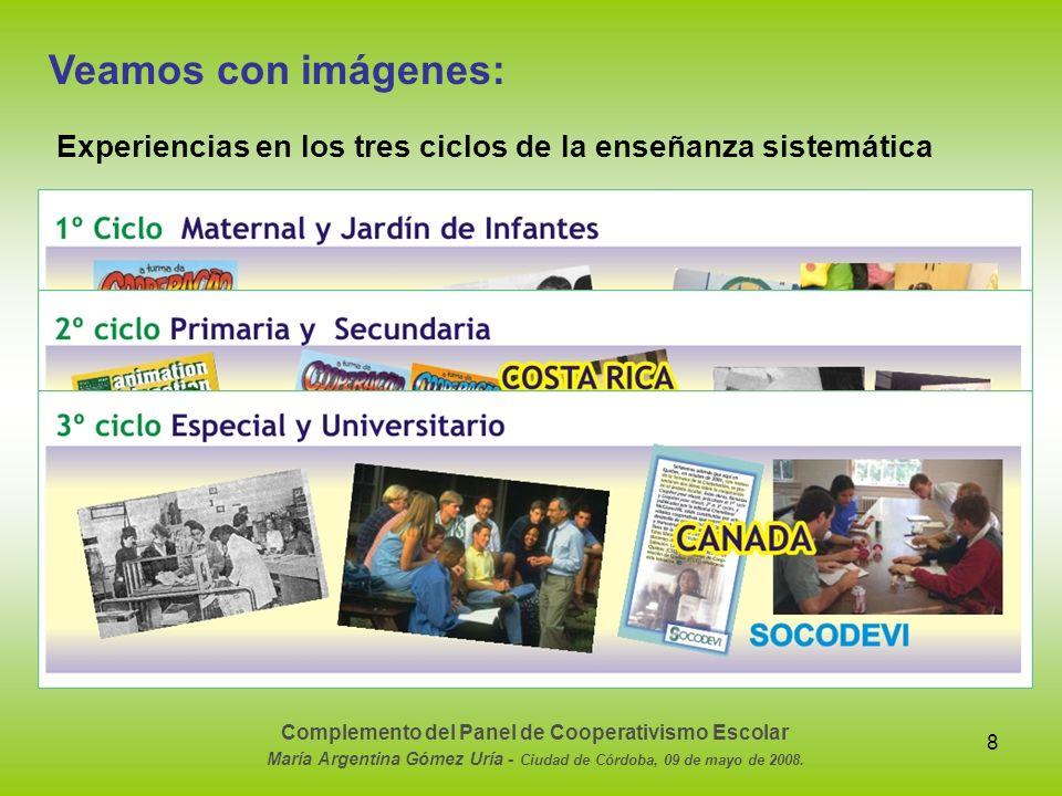 Veamos con imágenes: Experiencias en los tres ciclos de la enseñanza sistemática. Complemento del Panel de Cooperativismo Escolar.