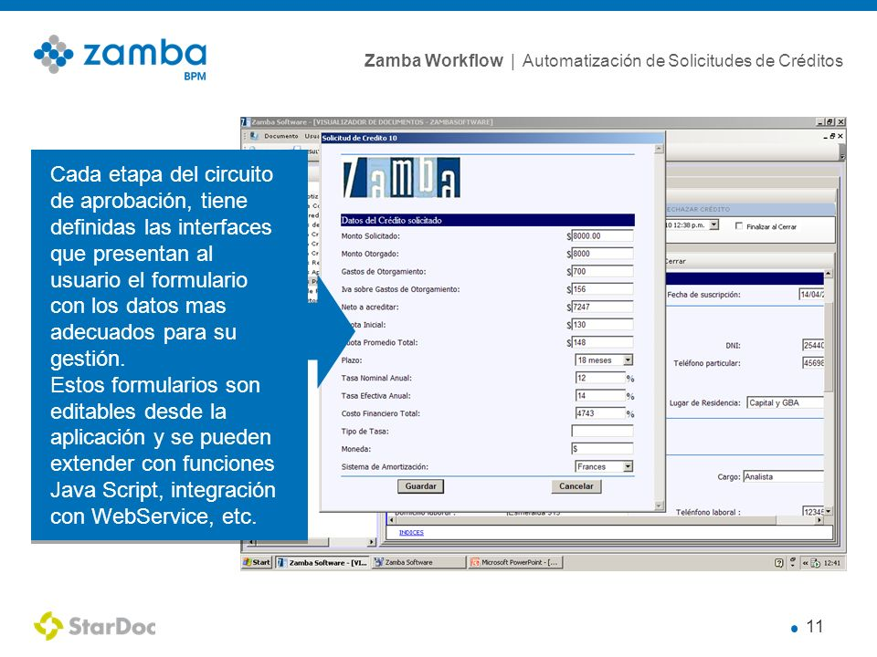 Cada etapa del circuito de aprobación, tiene definidas las interfaces que presentan al usuario el formulario con los datos mas adecuados para su gestión.