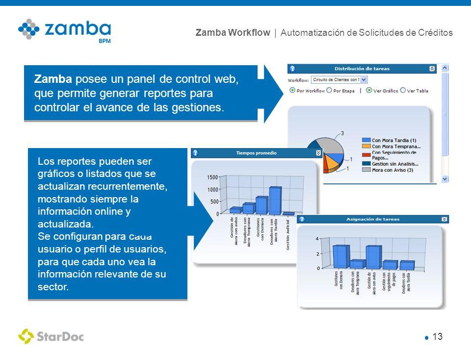 Zamba posee un panel de control web, que permite generar reportes para controlar el avance de las gestiones.