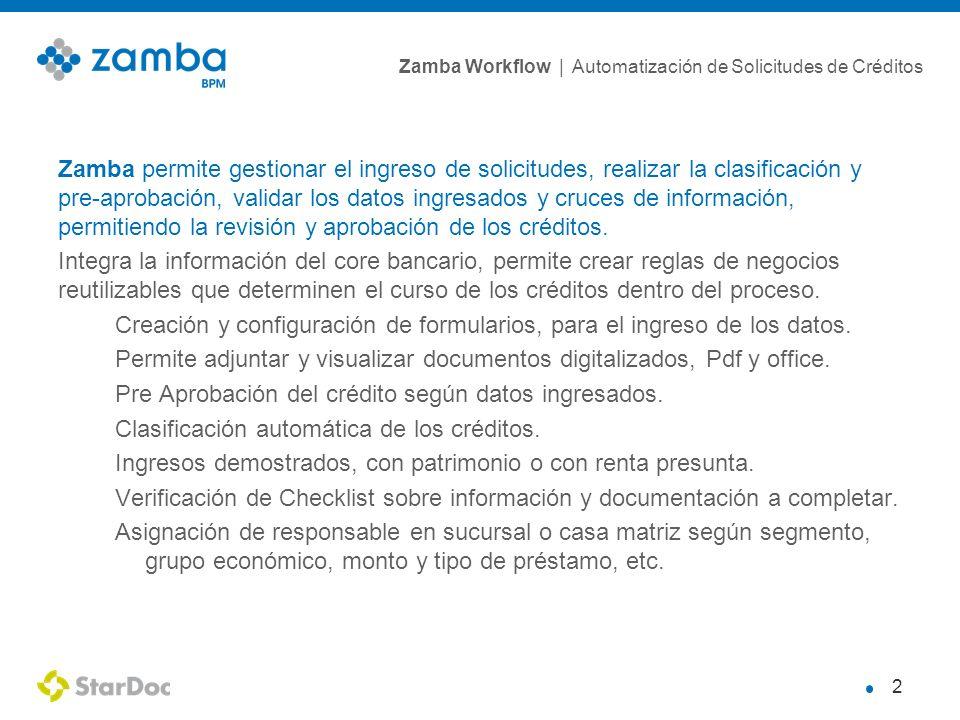Zamba permite gestionar el ingreso de solicitudes, realizar la clasificación y pre-aprobación, validar los datos ingresados y cruces de información, permitiendo la revisión y aprobación de los créditos.