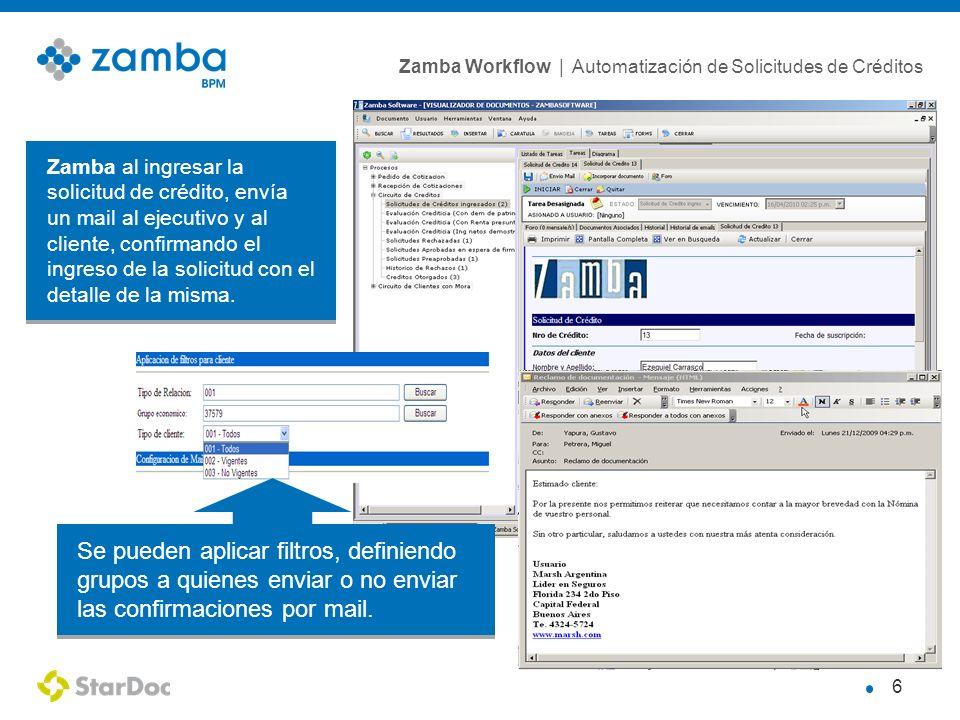 Zamba al ingresar la solicitud de crédito, envía un mail al ejecutivo y al cliente, confirmando el ingreso de la solicitud con el detalle de la misma.