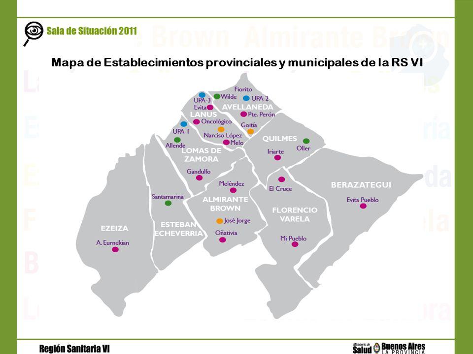 Mapa de Establecimientos provinciales y municipales de la RS VI