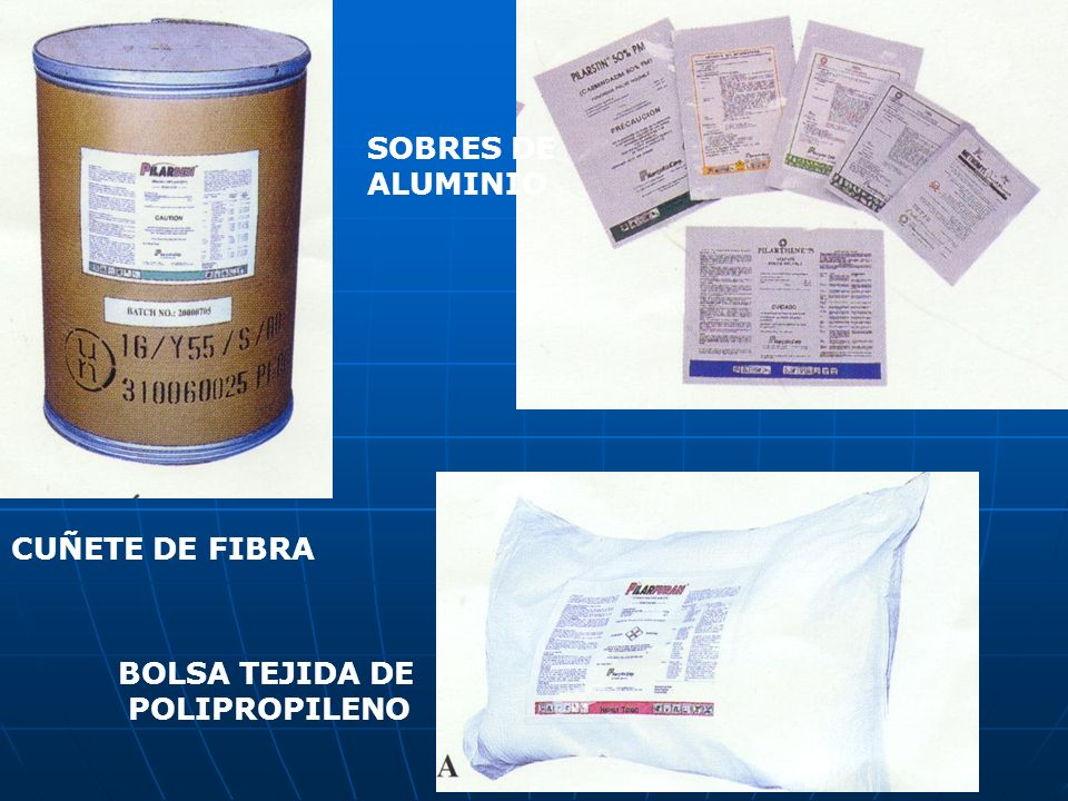 CUÑETE DE FIBRA SOBRES DE ALUMINIO BOLSA TEJIDA DE POLIPROPILENO