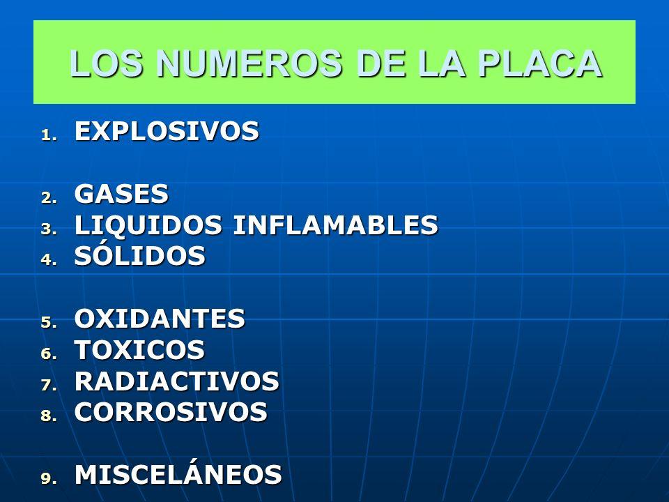 LOS NUMEROS DE LA PLACA EXPLOSIVOS GASES LIQUIDOS INFLAMABLES SÓLIDOS