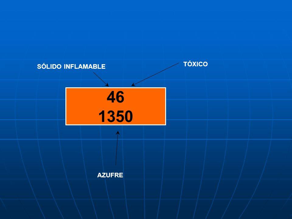 TÓXICO SÓLIDO INFLAMABLE 46 1350 AZUFRE
