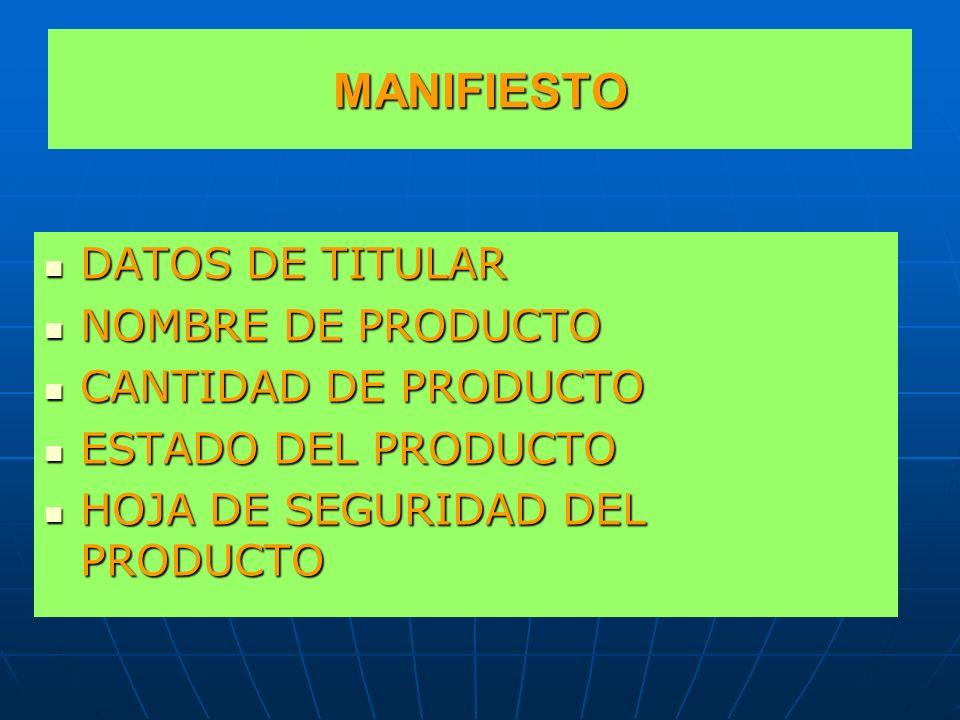 MANIFIESTO DATOS DE TITULAR NOMBRE DE PRODUCTO CANTIDAD DE PRODUCTO