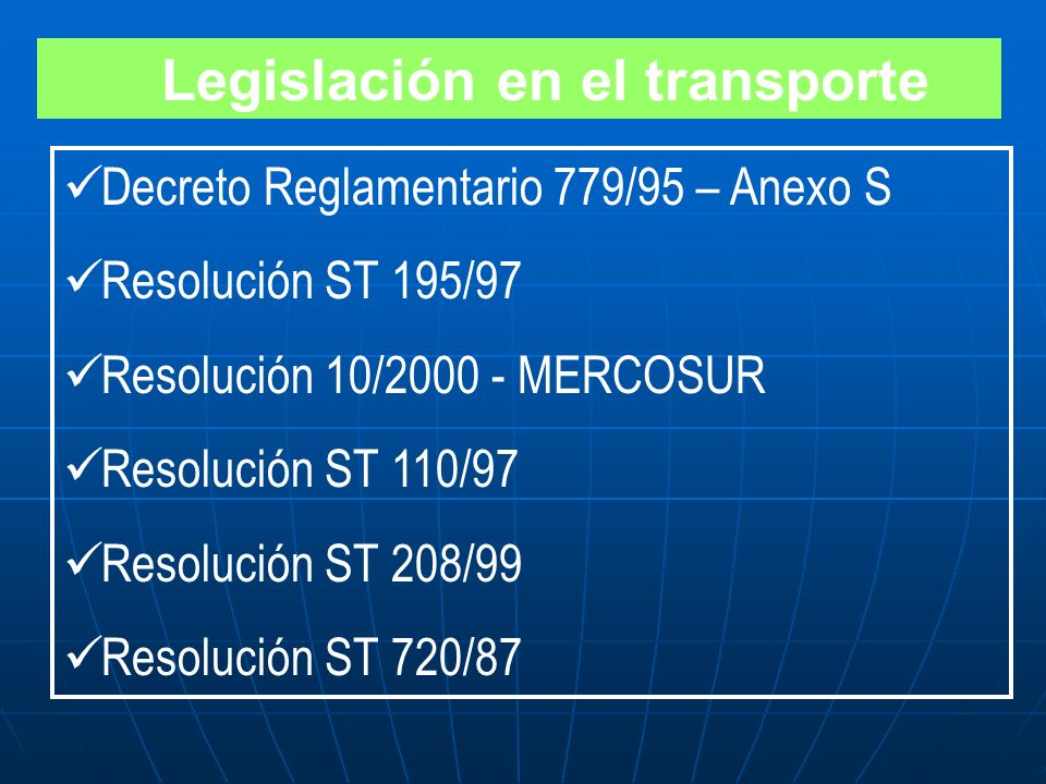 Legislación en el transporte