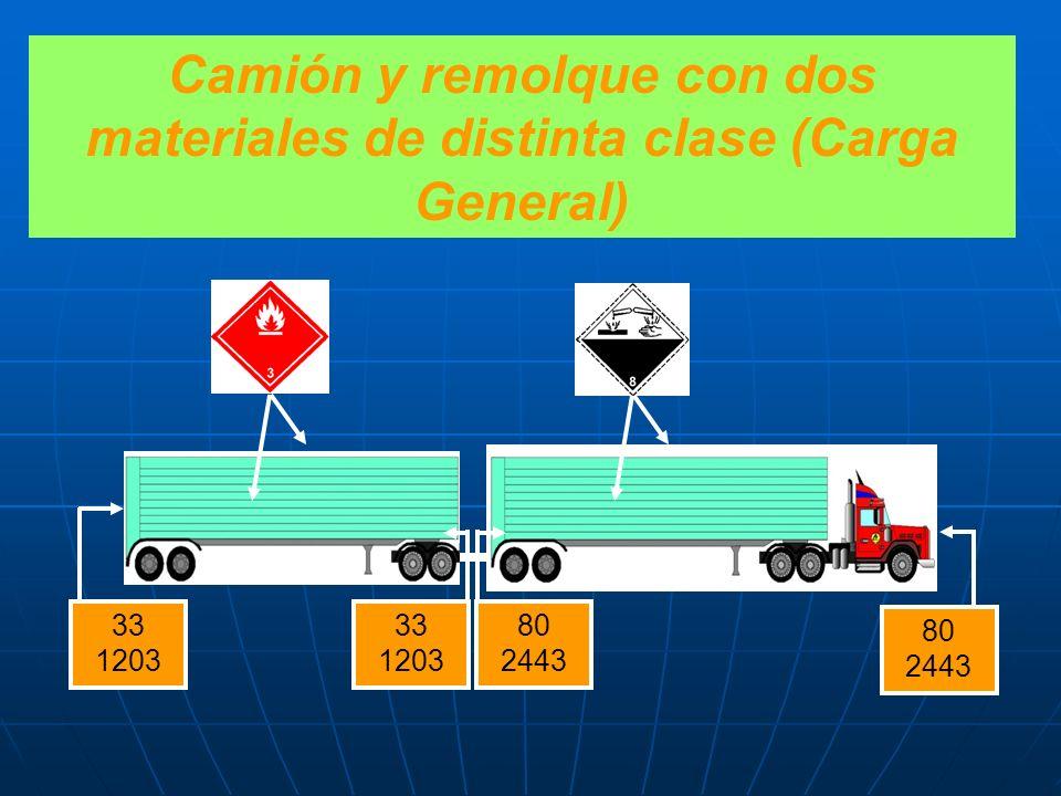 Camión y remolque con dos materiales de distinta clase (Carga General)