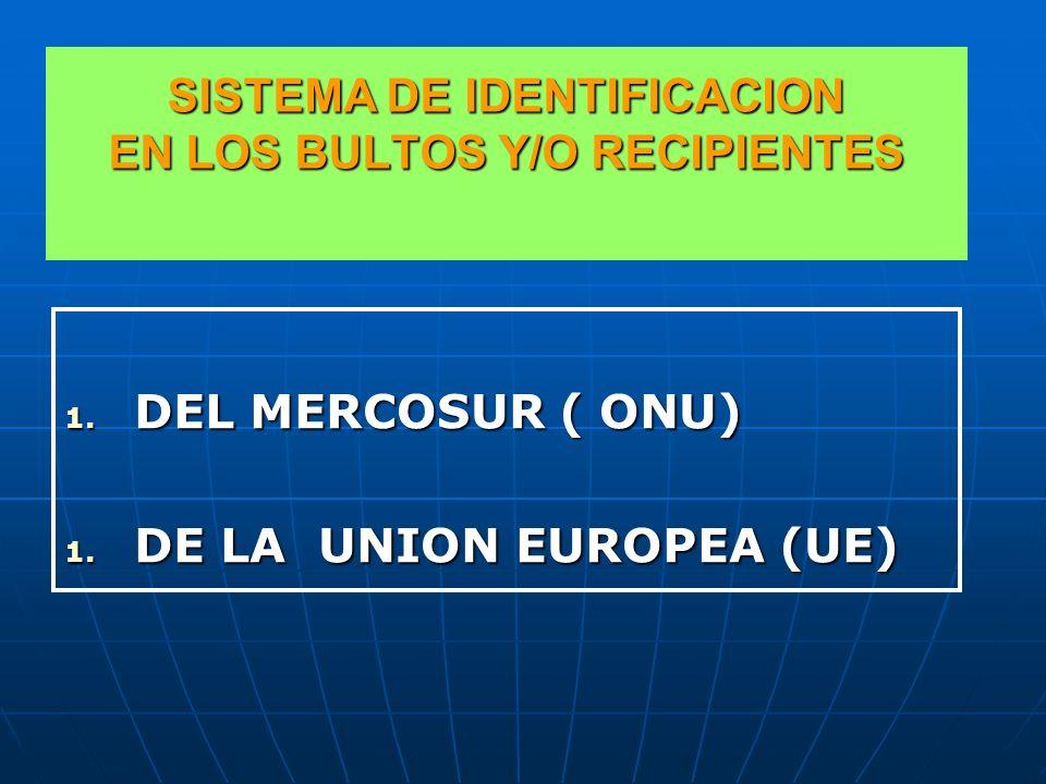 SISTEMA DE IDENTIFICACION EN LOS BULTOS Y/O RECIPIENTES