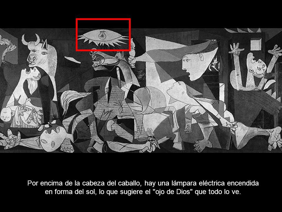 Por encima de la cabeza del caballo, hay una lámpara eléctrica encendida en forma del sol, lo que sugiere el ojo de Dios que todo lo ve.