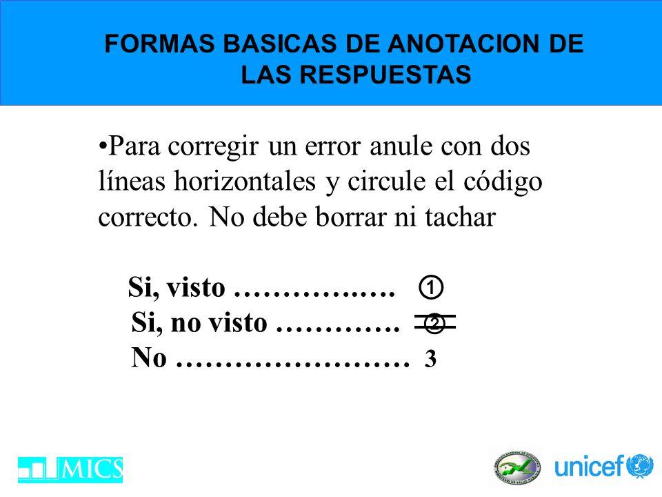 FORMAS BASICAS DE ANOTACION DE LAS RESPUESTAS