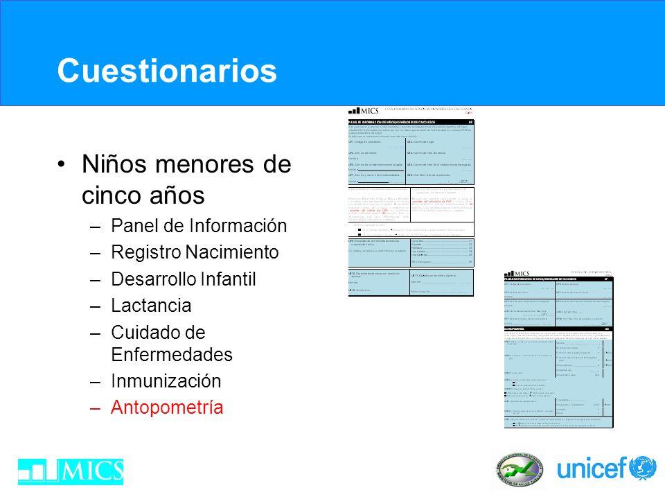 Cuestionarios Niños menores de cinco años Panel de Información
