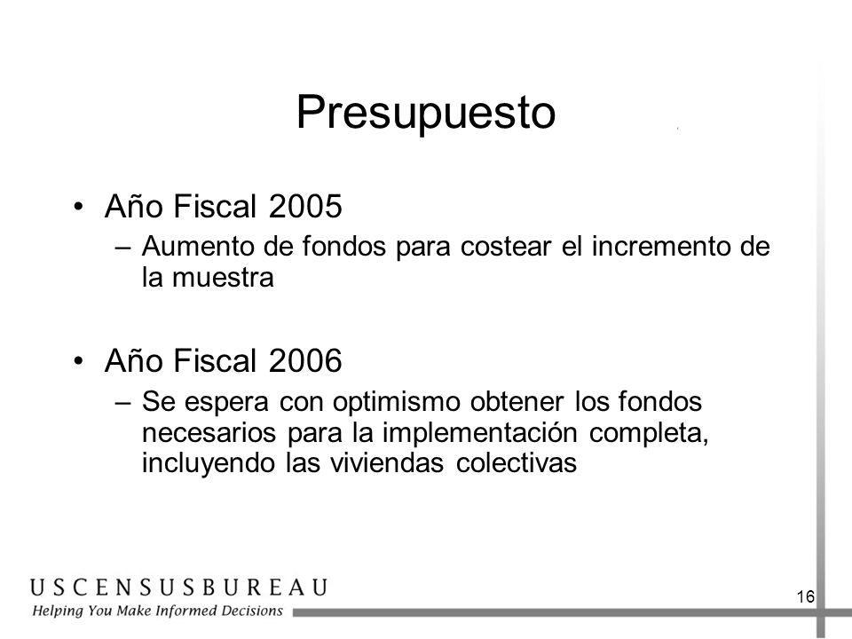 Presupuesto Año Fiscal 2005 Año Fiscal 2006
