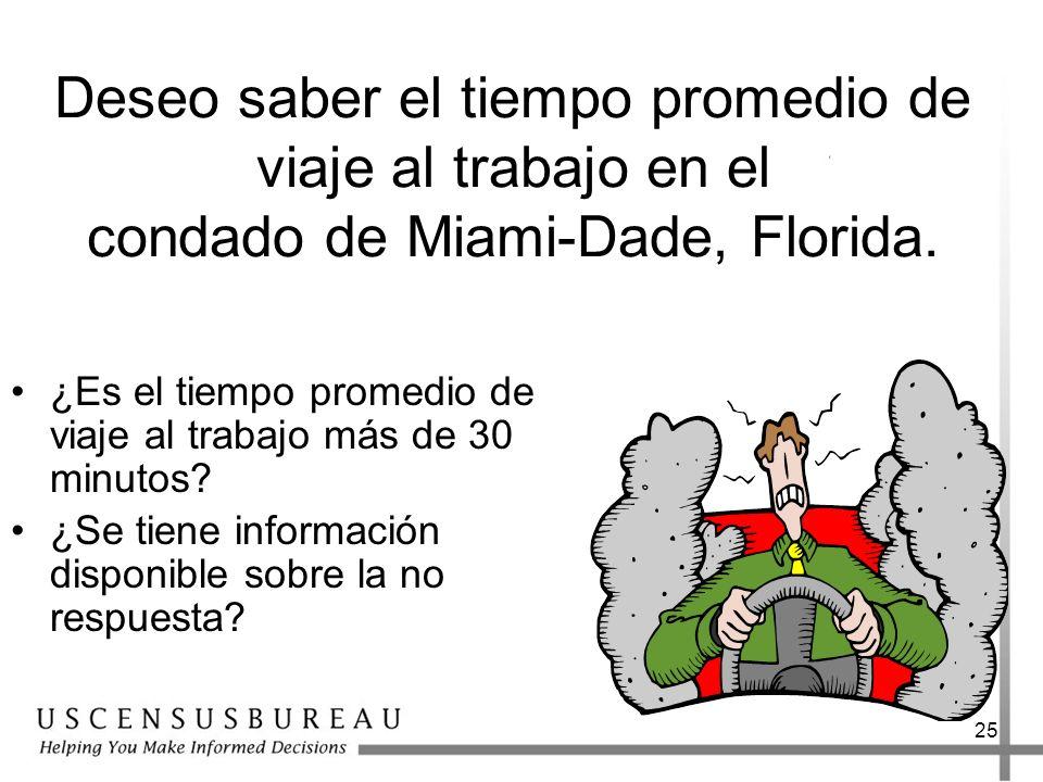 Deseo saber el tiempo promedio de viaje al trabajo en el condado de Miami-Dade, Florida.
