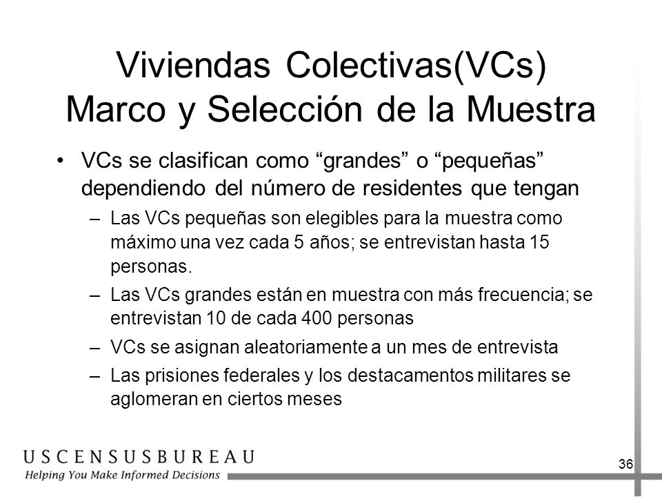 Viviendas Colectivas(VCs) Marco y Selección de la Muestra