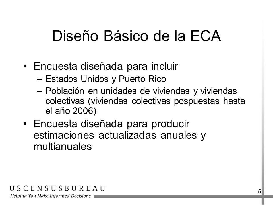 Diseño Básico de la ECA Encuesta diseñada para incluir