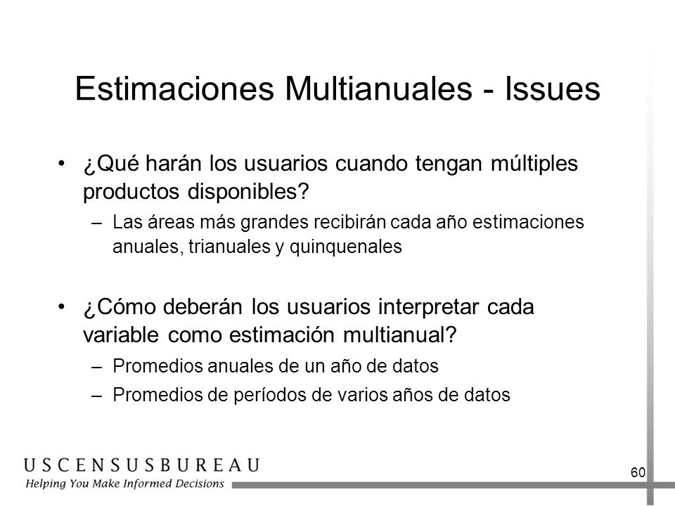Estimaciones Multianuales - Issues