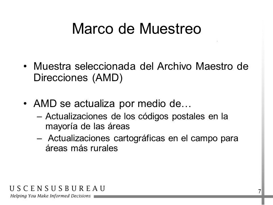 Marco de Muestreo Muestra seleccionada del Archivo Maestro de Direcciones (AMD) AMD se actualiza por medio de…