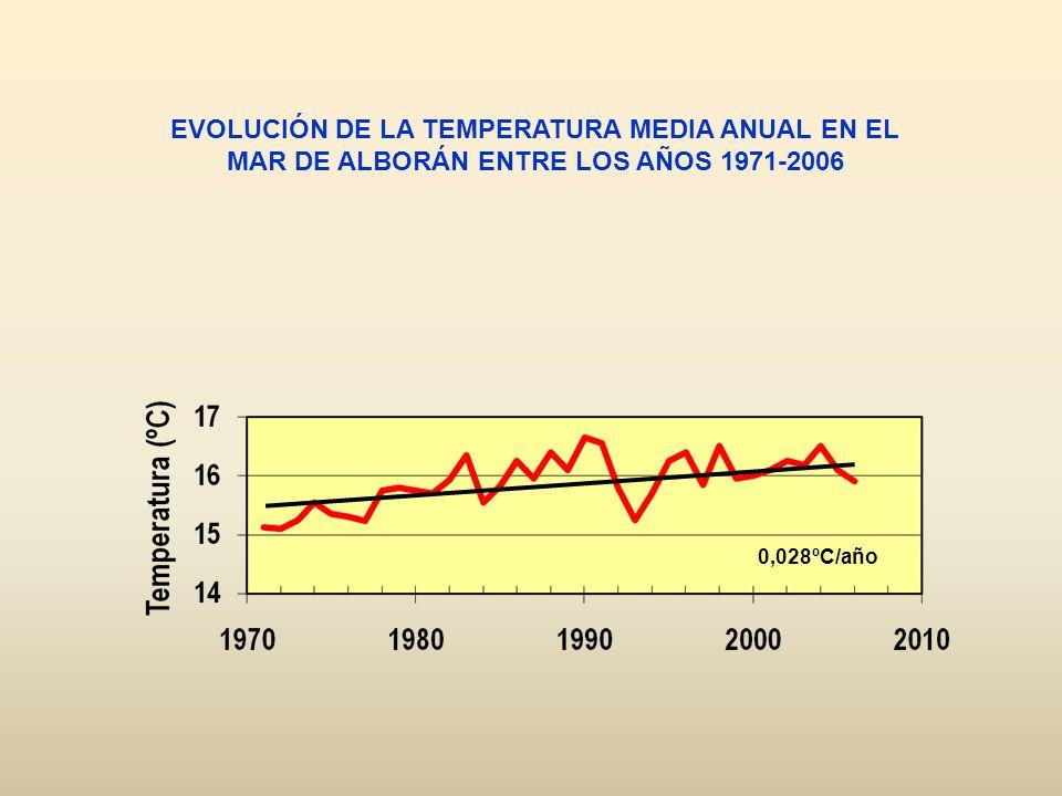 EVOLUCIÓN DE LA TEMPERATURA MEDIA ANUAL EN EL MAR DE ALBORÁN ENTRE LOS AÑOS 1971-2006