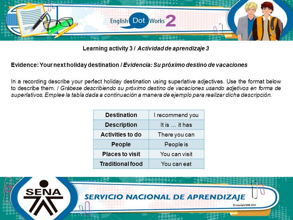 Learning activity 3 / Actividad de aprendizaje 3