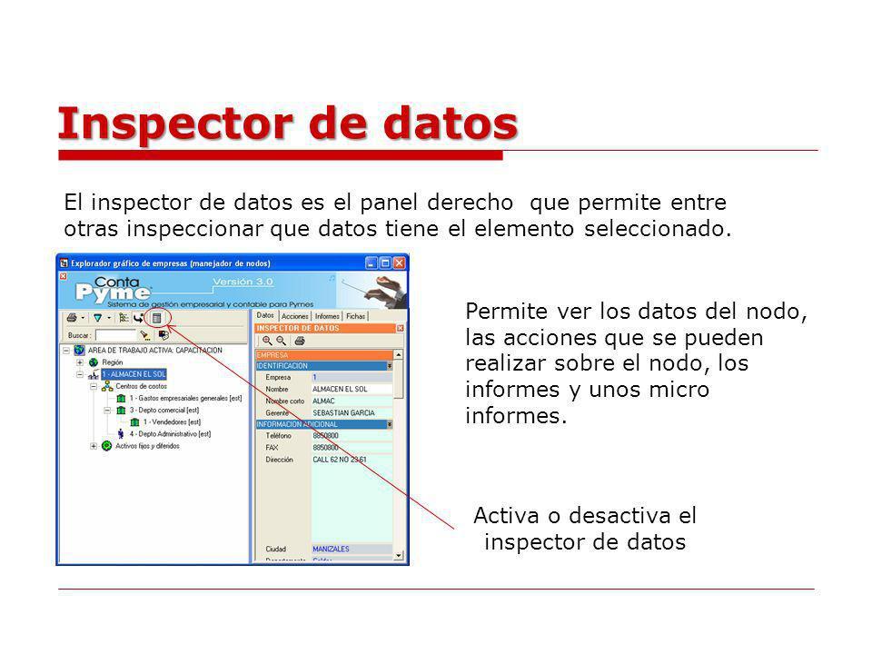 Activa o desactiva el inspector de datos