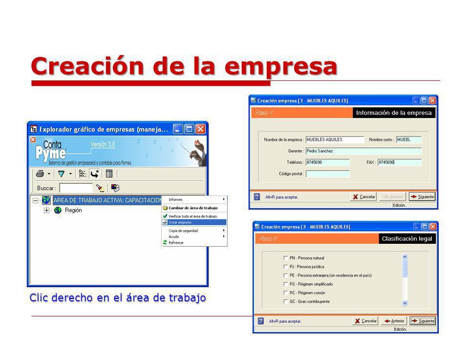 Creación de la empresa Clic derecho en el área de trabajo