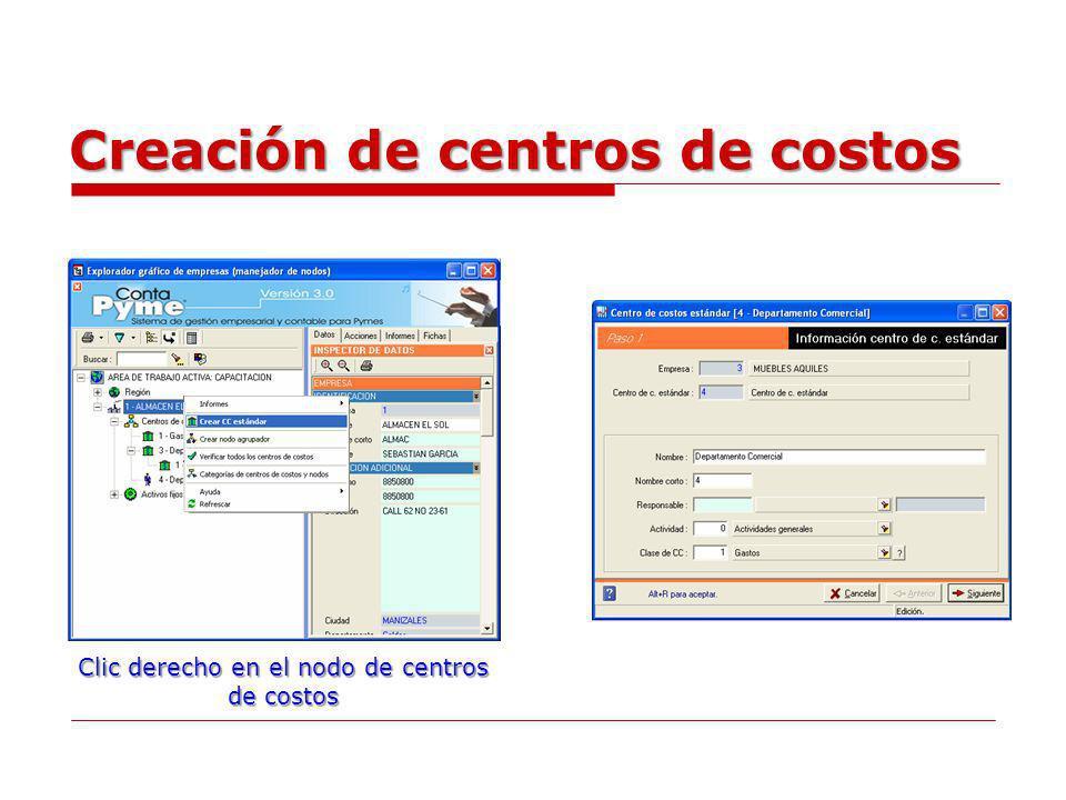 Creación de centros de costos