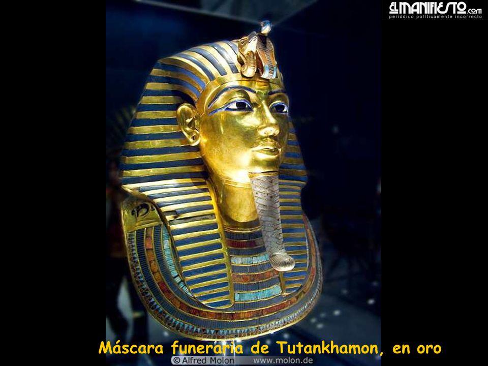 Máscara funeraria de Tutankhamon, en oro
