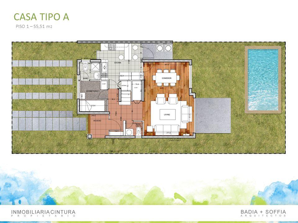 CASA TIPO A PISO 1 – 55,51 m2