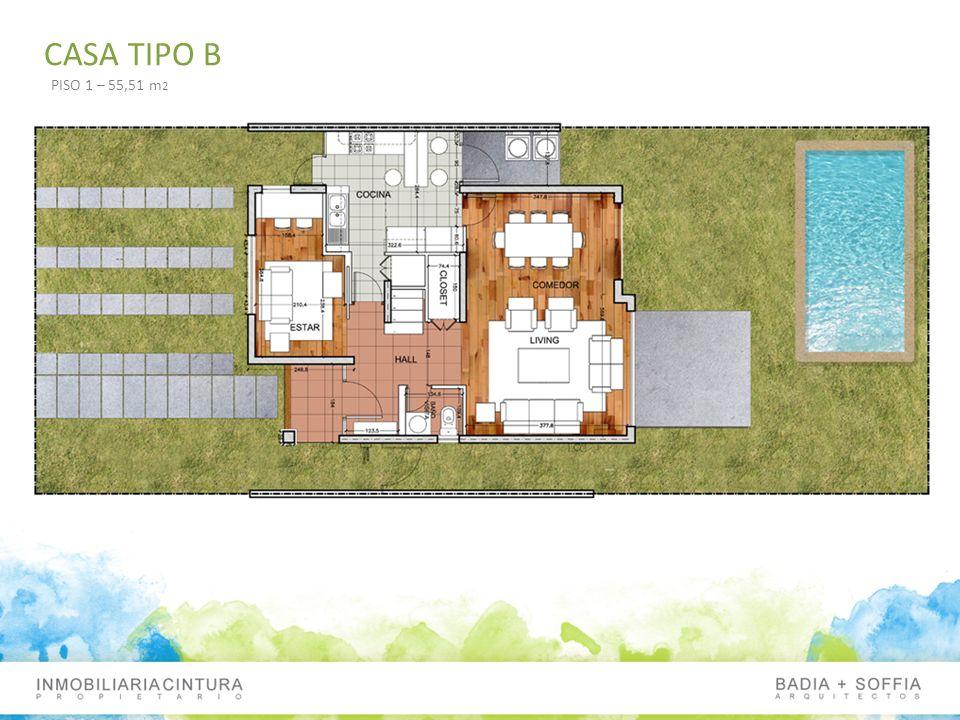 CASA TIPO B PISO 1 – 55,51 m2