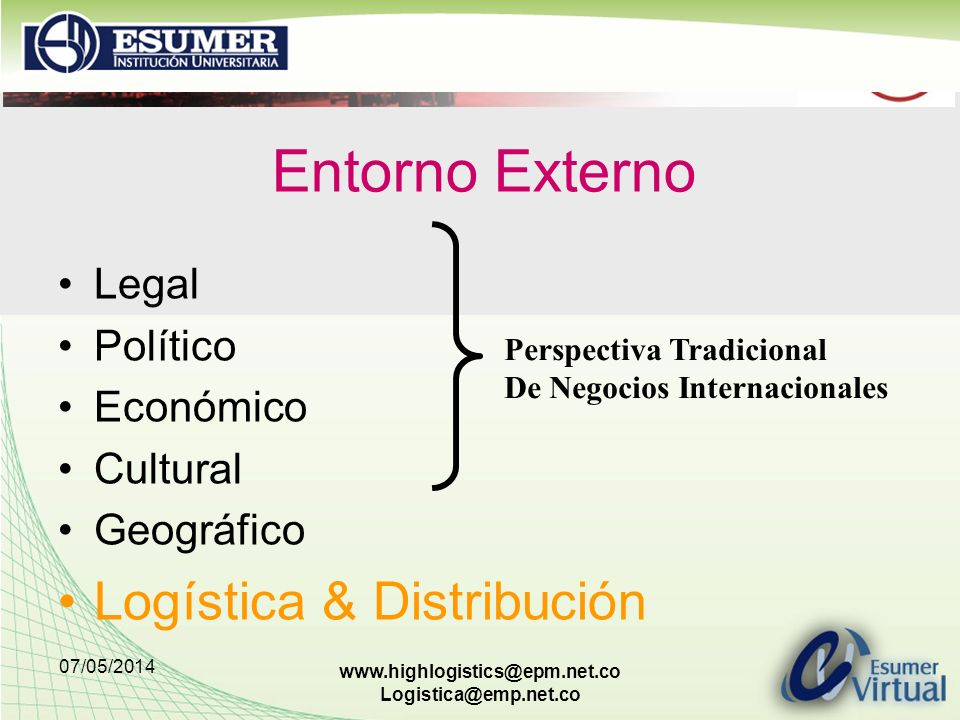 Entorno Externo Logística & Distribución Legal Político Económico