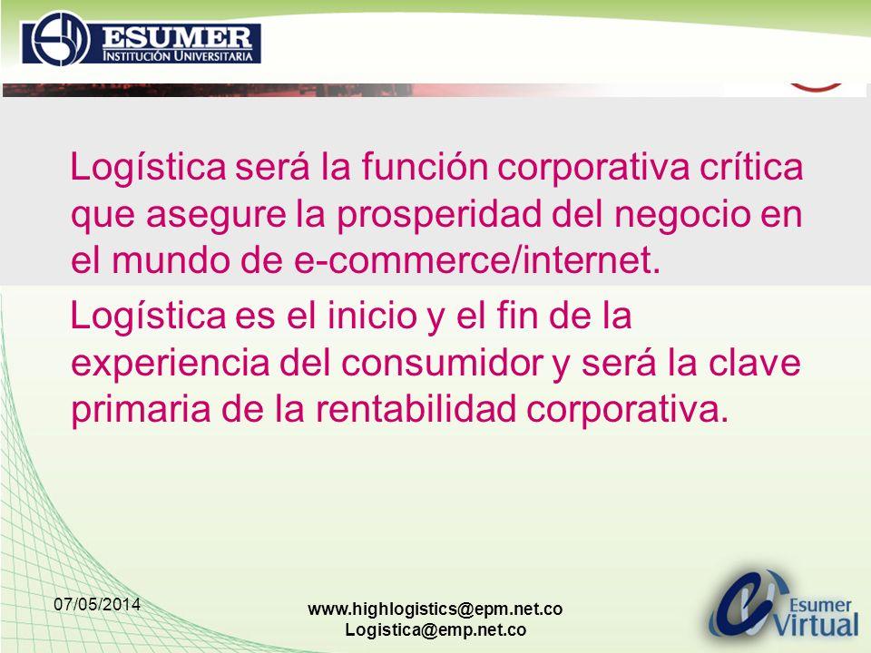 Logística será la función corporativa crítica que asegure la prosperidad del negocio en el mundo de e-commerce/internet.