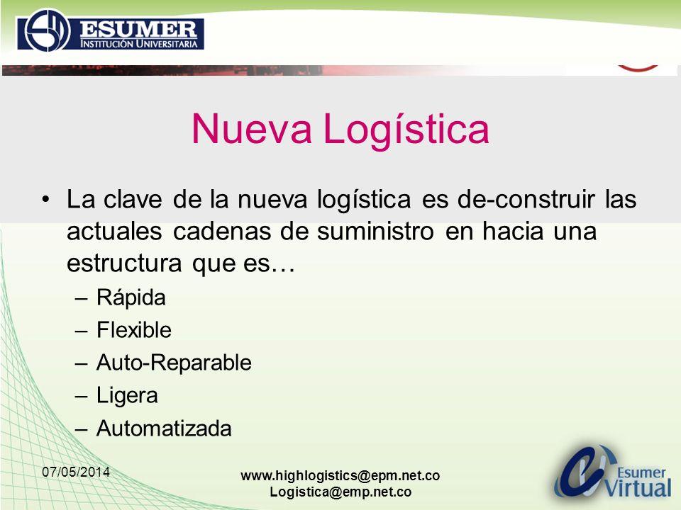 Nueva Logística La clave de la nueva logística es de-construir las actuales cadenas de suministro en hacia una estructura que es…