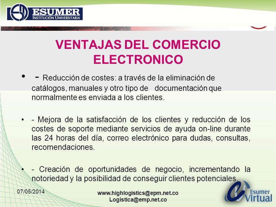VENTAJAS DEL COMERCIO ELECTRONICO