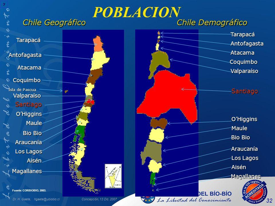 POBLACION Chile Geográfico Chile Demográfico Santiago Santiago