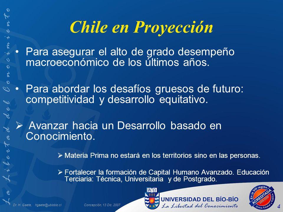 Chile en Proyección Para asegurar el alto de grado desempeño macroeconómico de los últimos años.