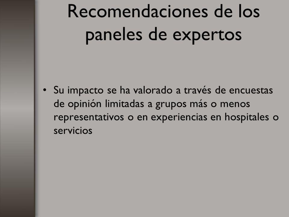 Recomendaciones de los paneles de expertos