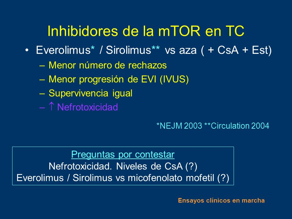 Inhibidores de la mTOR en TC